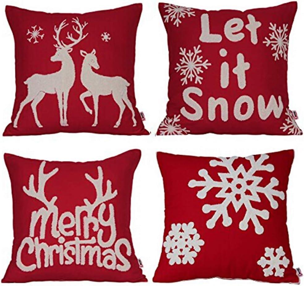 4-Pack 18x18 Pillowcases Cotton Linen Decorative Throw Pillow Covers Sofa Decor