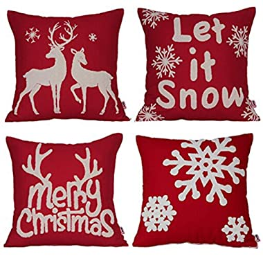 "Urijk Throw Pillow Case Christmas Pillow Cover 18"" x 18"", Cotton Linen Decorative Cushion Cover Square Pillowcase Cushion Case Decor for Home Car Sofa Bed Couch, Set of 4 (#2)"