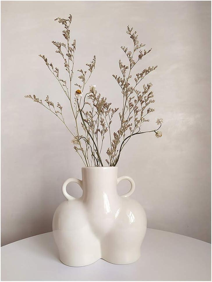 KatoonX Female Form Body Art Vase Butt Flower Ceramic Statue Vase for Home Office Decor Sculpture Gloss (Large, Gloss White)