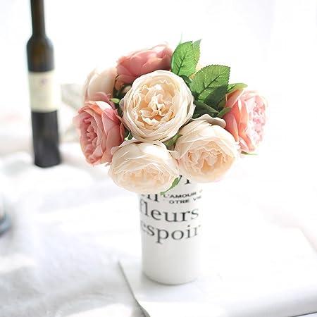 Artificial Flowers,Fake Silk Flowers 5 Heads Peony Wedding Bouquet Flower  Arrangement For Home Decor