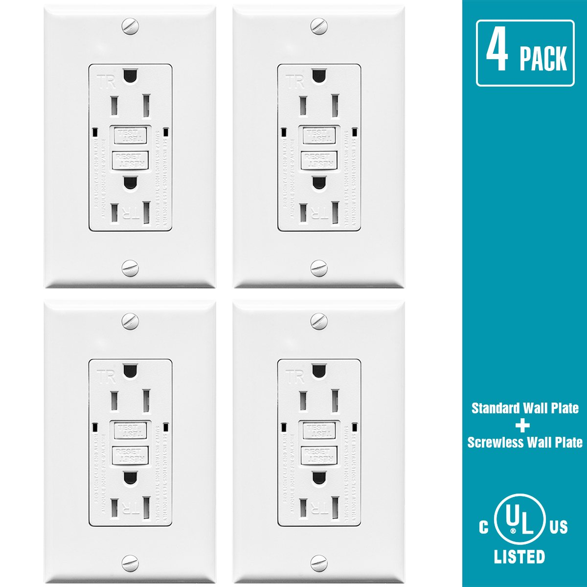 TOPELE 15A GFCI Outlet 125 Volt Tamper-Resistant Receptacle, Indicators with LED Light, 2 Wall Plates and Screws Included, White, UL Listed (Pack of 4) TOPELE ENTERPRISE CO. LTD.
