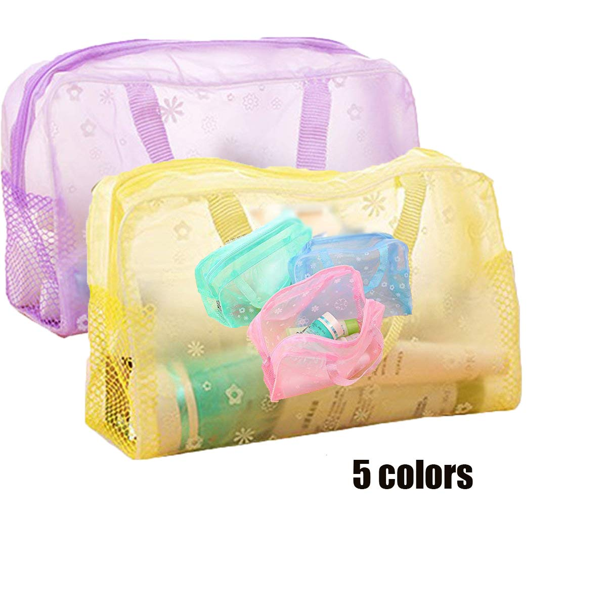 TO A 1PCS Trousse da Viaggio Impermeabile in PVC Trasparente Lavare Bagno Storage Bag Viola Yellow CN