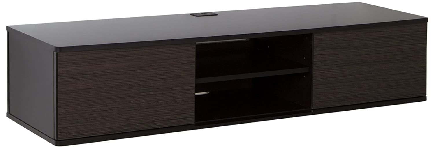 South Shore Floating Wall Mounted Media Console, Black Oak 9030676
