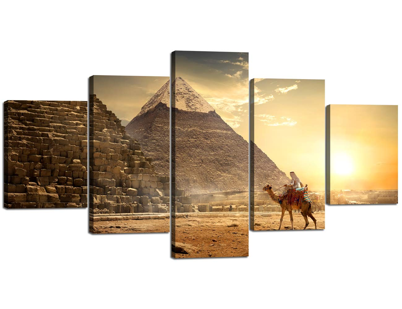 """Print Kitchen Wall Art Canvas Painting Stretched and Framed 5 Panel Vintage Egyptian Pyramid Picture for Living Room Bedroom Wall Decor Modern Artwork Poster Home Decoration (60"""" Wx32 H)"""
