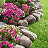 14 Pieces 10 Feet Long Border Realistc Stone Rock Look Stake Garden Path Outdoor Pathway Trail Flowerbed Walkway Edging Yard Decor (dark grey)