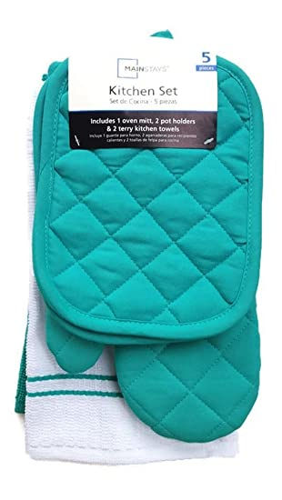 Teal Island Kitchen Towel Set 5 Piece  Pot Holders, Oven Mitt, And Terry