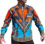 RaanPahMuang Funk Workers Shirt African Dashiki Festival Long Sleeve EURO Collar, Large, Blue