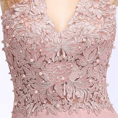 Ballkleid Abendkleid Chiffon Abschlusskleid Perlenstickerei Lang 2 Rosa MisShow Ärmellos Applique wpdqp64
