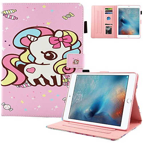 New iPad 9.7 Inch 2017 2018,iPad Air 2,iPad Air Case,MonsDirect Smart Flip Slim Case Stand Wallet Protective Cover Auto Wake Sleep for iPad 9.7 Inch 2017,iPad Air 1 2, 01 Candy Pony