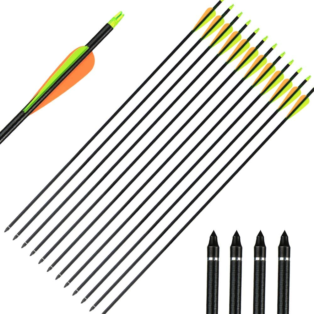 IRQ 32inch Fiberglass Arrows Targeting Practice Adjustable Nocks Screw in Replaceable Arrow Tips for Compound Recurve Bow : Sports & Outdoors