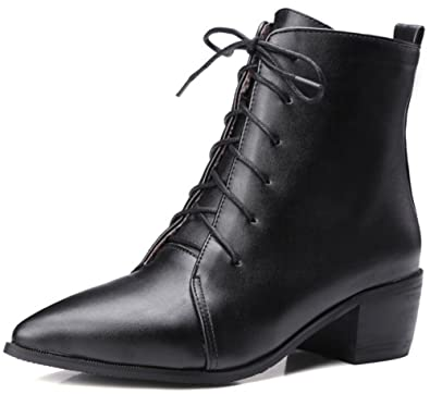 Women's Sexy Pointed Toe Blocked Mid Heel Lace-up Patent Leather Short Boots