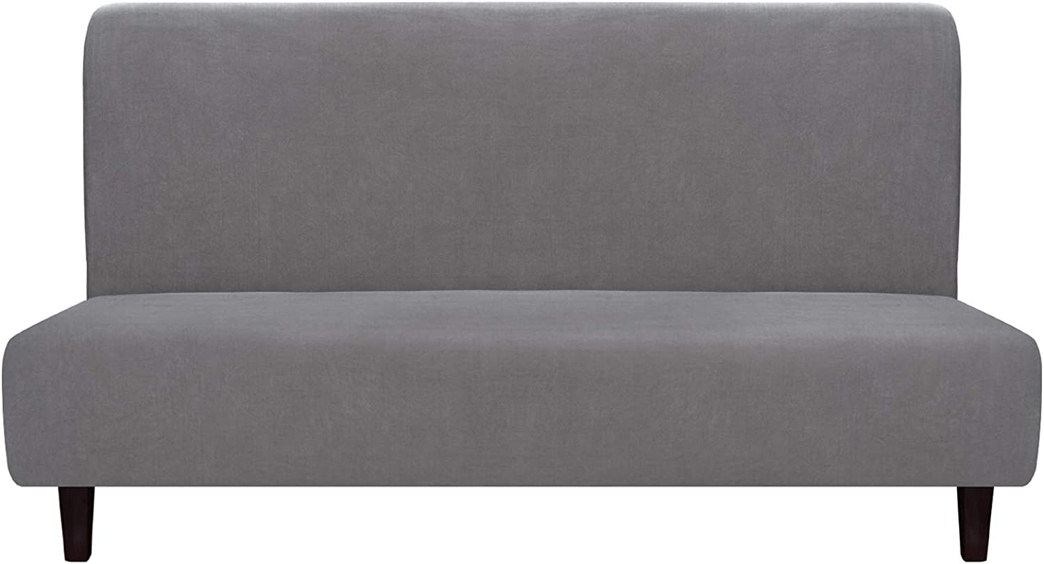 Easy-Going Fleece Stretch Sofa Slipcover – Spandex Anti-Slip Soft Couch Sofa Cover, Armless Washable Furniture Protector with Elastic Bottom for Kids, Pets(Futon,Light Gray)