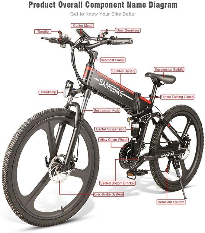 Ritapreaty Samebike - Bicicleta eléctrica Plegable de 26 Pulgadas ...