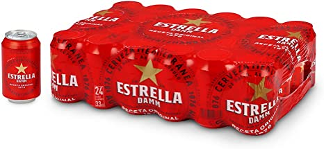 Cerveza Estrella Damm Pack de 24 Latas 33cl: Amazon.es ...