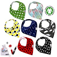 Premium Baby Bandana Drool Bibs 3 Snaps unisex 7-Pack Gift Set for Drooling a...