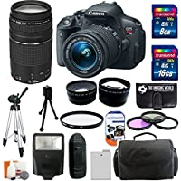 Canon EOS Rebel T5i 18.0 MP CMOS Digital Camera body HD Video with EF-S 18-55mm f/3.5-5.6 IS STM Zoom Lens + EF 75-300mm f/4-5.6 III Telephoto Zoom Lens + 58mm Telephoto Lens + 58mm Wide Angle Lens + Flash + Spare Battery + 3-piece Filter Kit with 24GB Complete Deluxe Accessory Bundle Explained Review Image
