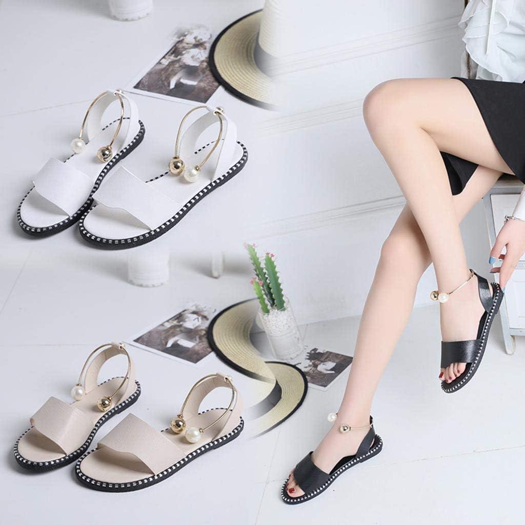 POLP Sandalias Planos Mujer Verano 2019,Sandalias de Vestir de Moda,Zapatillas de Estar por casa Suave y c/ómodo,Sandalias de Danza Negro Beige Blanco 35-39