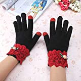 Pyrsun(TM) Knitting wool Winter Lace Touch Screen Gloves Female Casual Stretch Knitted Gloves Mittens Hot Warm Accessories