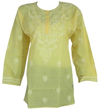 77f7b567b40 Plus Size Embroidered Tunic Top Indian Clothing (Yellow): Amazon.co.uk:  Clothing