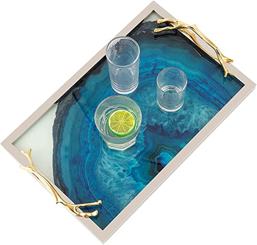 Amazon Com Faux Marble Catchall Tray Decorative Serving Tray