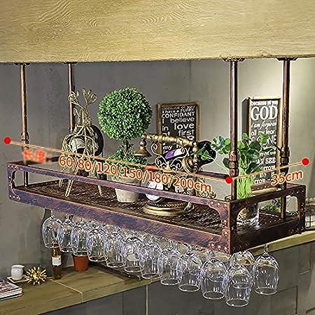 JJ Botellero de Pared | Portabotellas Vintage de Metal | Sostenedor de Copa de Vino suspendido | Estante para Vino rústico vinoteca de Pared para Vino (60/80/100/120 * 35 cm)