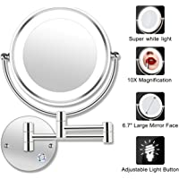 """AmnoAmno 8.5"""" LED Double Sided Swivel Wall Mount Vanity mirror-10x Magnification,13.7"""" Extension,Touch Button Adjustable Light,Chromium,Shaving in Bedroom Bathroom"""