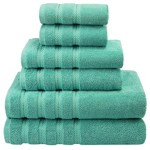 Premium, Luxury Hotel & Spa, 6 Piece Towel Set, Turkish Towels 100% Cotton for Maximum Softness and Absorbency by American Soft Linen, [Worth $78.95] (Aqua Blue) (Bathroom Mirrors Country Style)