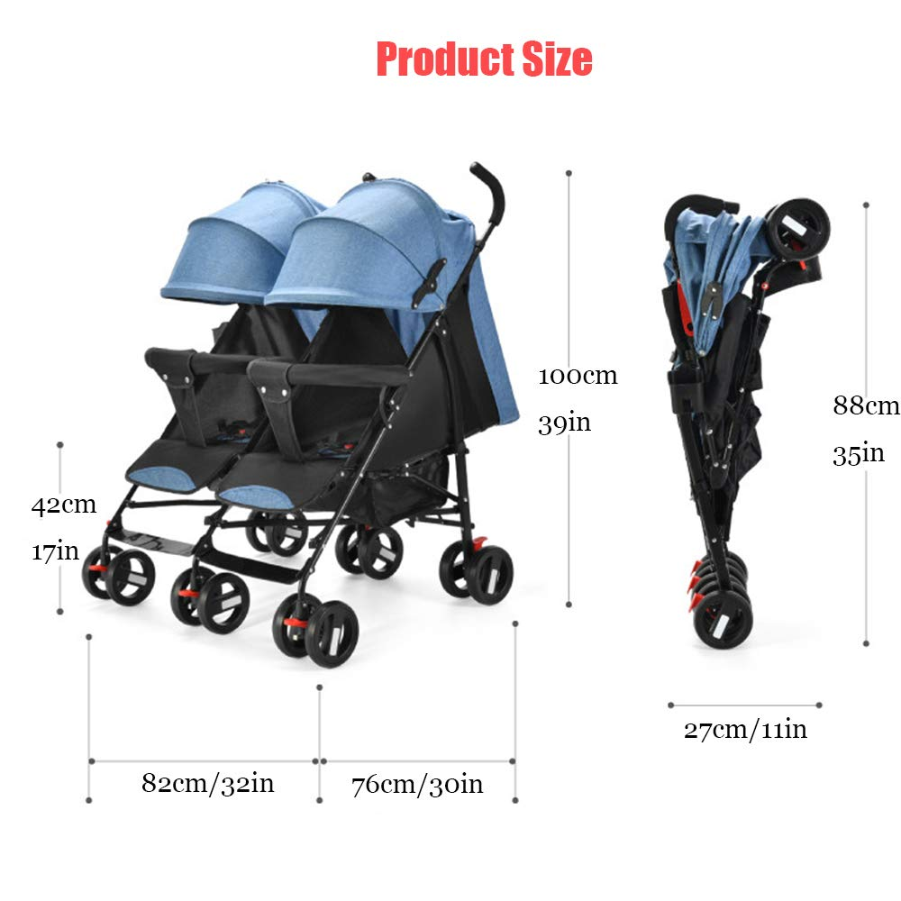 Twin Double Stroller, Foldable Tandem Stroller Side by Side Independently Reclining Seats Lightweight Extended Canopy Newborn Gift,Blue by Saturey (Image #6)