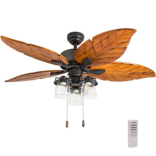 Prominence Home 50783-01 Caspian Sea Tropical Ceiling Fan 3 Speed Remote , 52 , Dark Cherry Hand Carved Wood, Aged Bronze