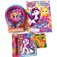 Lisa Frank Kitten Stereo Headphones Bundle with 5 Pieces Including Stereo Headphones, Kitten Coloring Book and Crayons, Notebook and 6 Color Lisa Frank Pen
