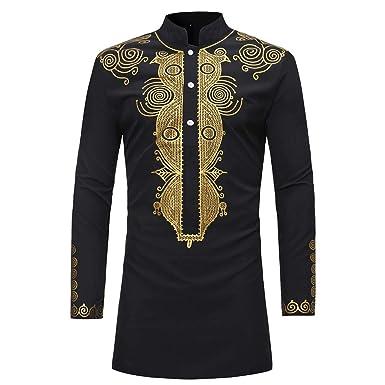 c1b65c7b926ca Amazon.com  Hemlock Men African Dashiki Shirt Long Autumn Africa Print  Blouse Shirts Long Sleeve Retro Turtleneck Sweater Tops  Clothing