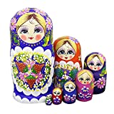 Winterworm® Set of 7 Berries and Flowers Patterns Wooden Nesting Dolls Matryoshka Russian Doll