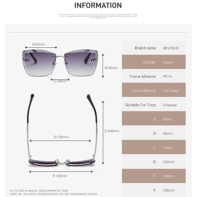 2ffeb3d1c4f AEVOGUE Sunglasses for Women Oversized Rimless Diamond Cutting Square  Glasses AE0528 (Gold Brown