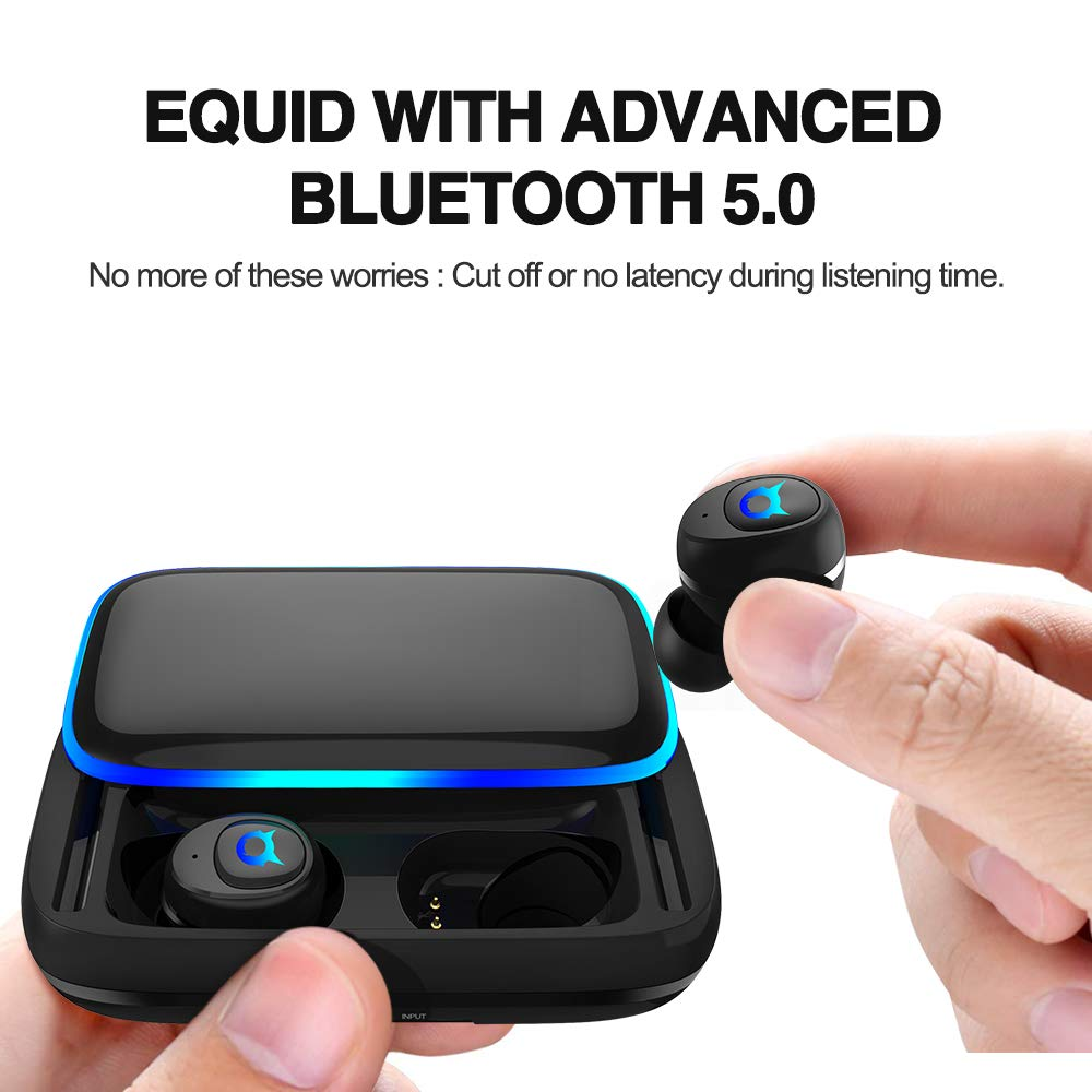 Bluetooth 5.0 Wireless Earbuds with 3000mAh Charging Case As Power Bank Up to 150H Playtime,Hi-Fi Stereo Workout Bluetooth Headphones,Stereo Sound Inear Earphones with Built-in HD Microphone-Black