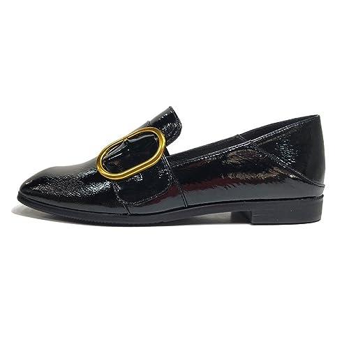 Zapatos Individuales para Mujer Cabeza Cuadrada Boca Plana Plana Cuero Charol Superficie Suave Mocasines, Negro