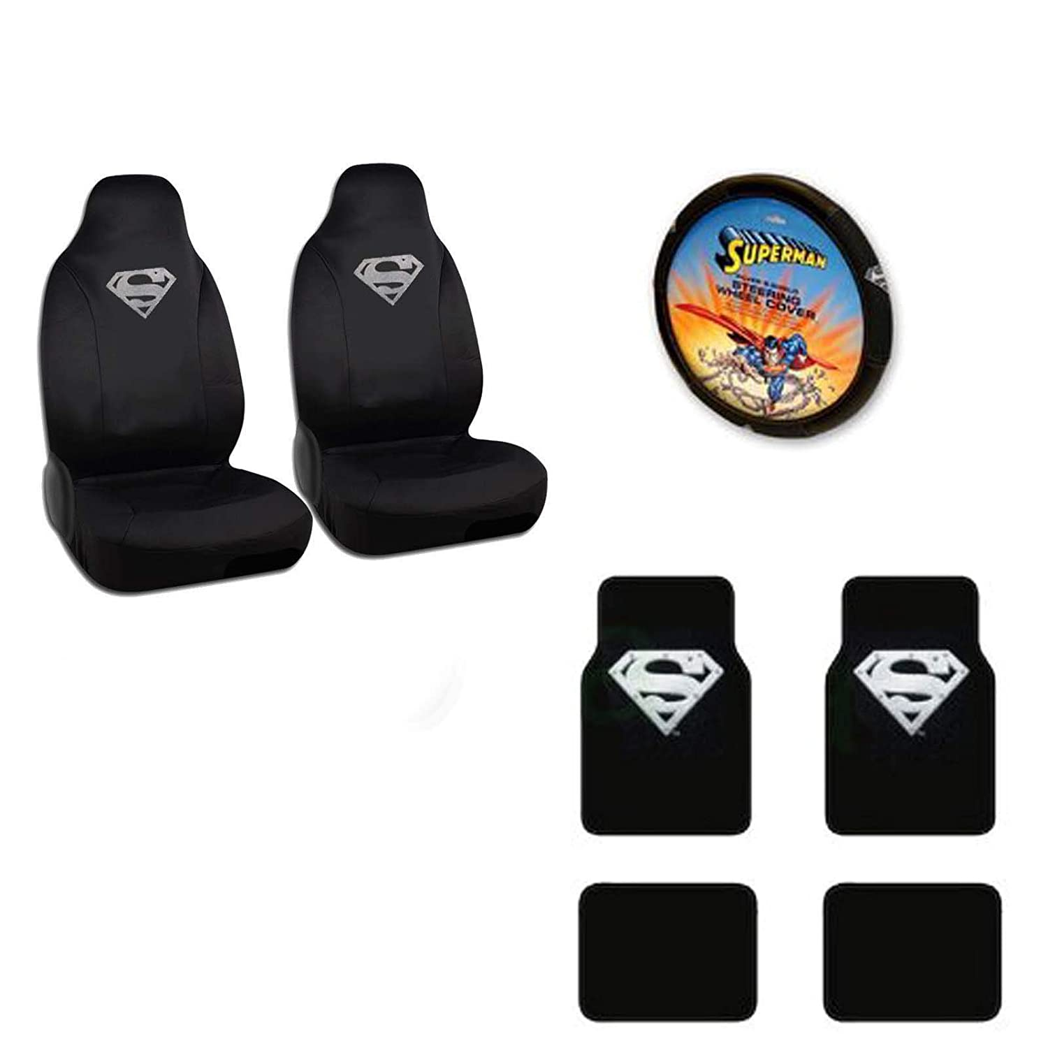 Superman A set of 7 Piece Automotive Gift Set: A Pair of High Back Seat Covers 2 Front and 2 Rear Floor Mats and 1 Wheel Cover