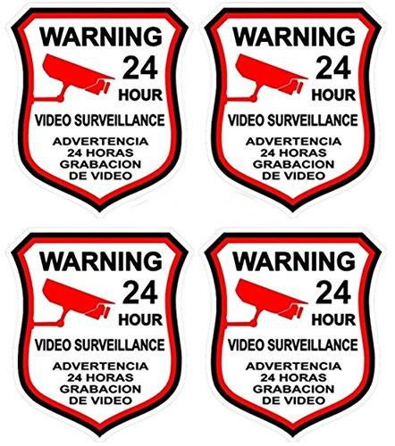 4 Pcs Blameless Popular Video Surveillance Sticker Sign Home Warning Bumper Security Anti-Thief Size 3