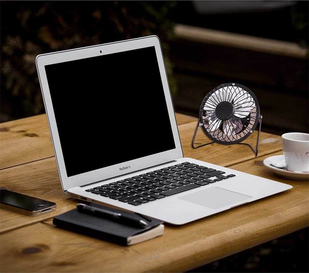 Mini Ventilateur M/étal,360 Degr/és Rotation Ventilateur USB de Bureau Portable Ventilateur Silencieux PC Aliment/é par USB Ordinateur Mac Ventilateur de Table pour Bureau Bleu