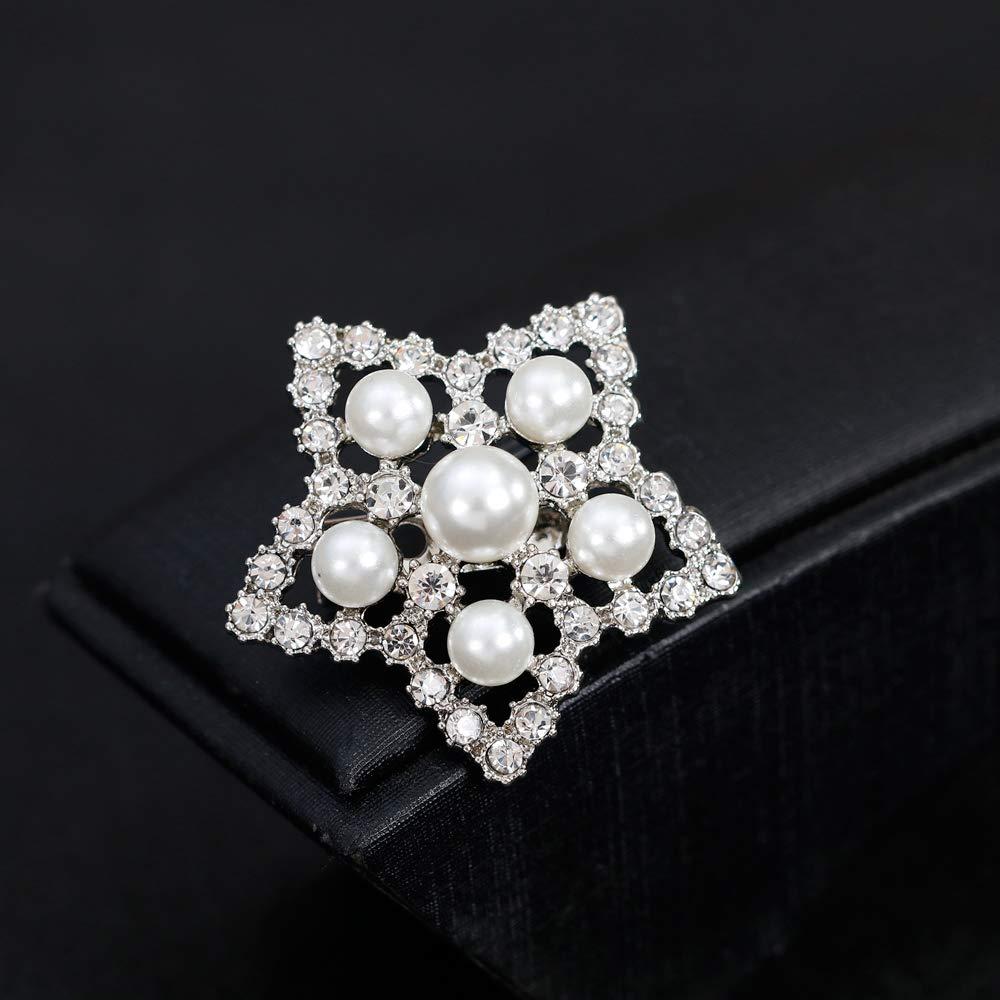 3.5cm DIYOO Broche Broche Perle Artificielle Pentagramme Creux Broches Alliage Pin avec Zircon Bijoux pour Femmes Hommes 3.5