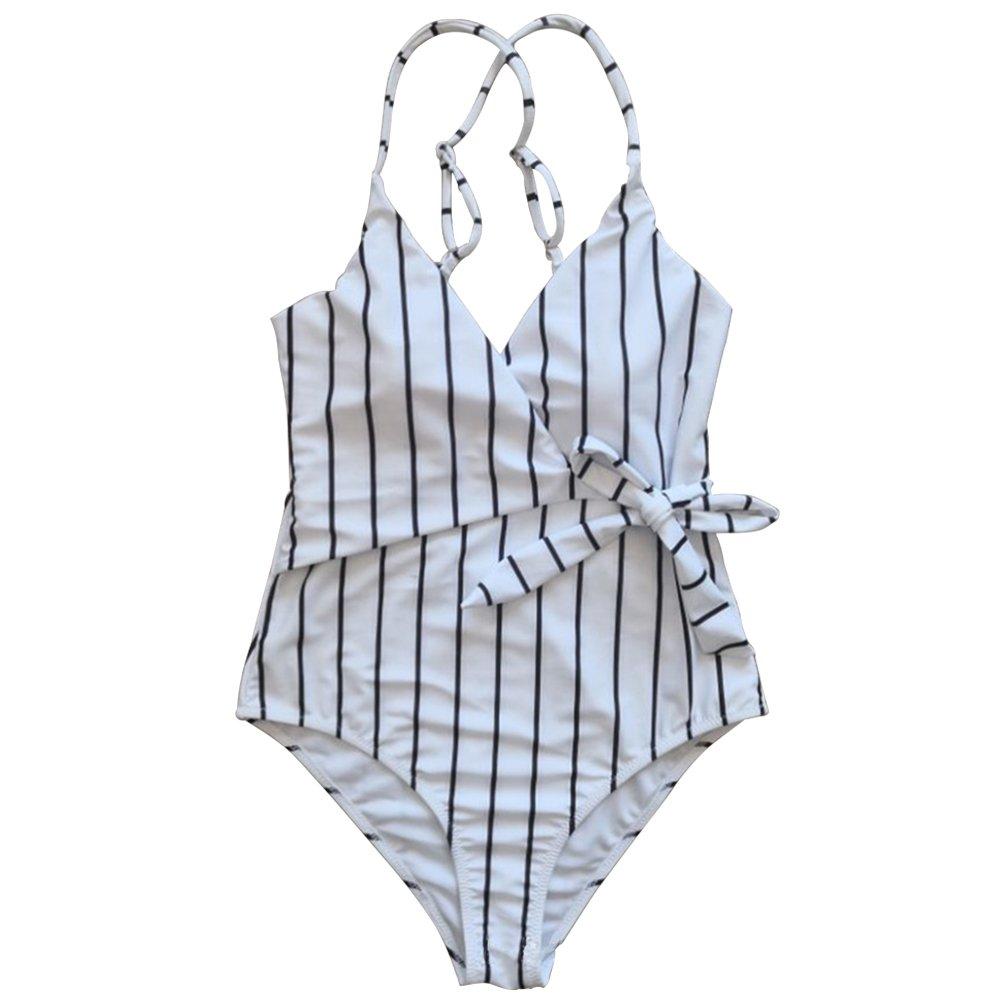 DaiLiWei SWIMWEAR レディース B07D8HWWBQ 1# Black Striped One Piece Swimsuit Large