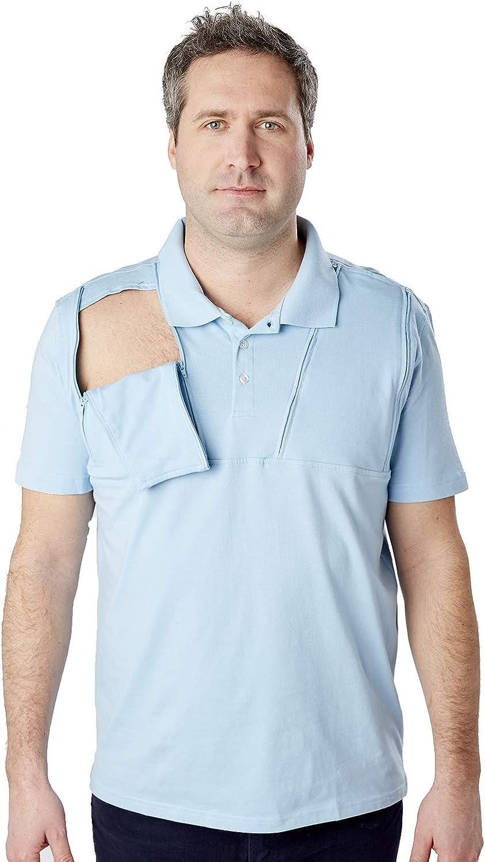 Care+Wear Men's Dual Port Access Shirts, Short Sleeve Chemo Shirt for Men