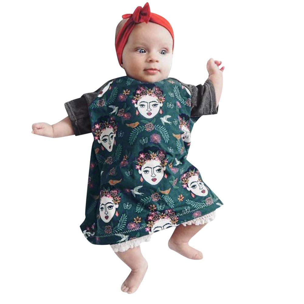 NUWFOR Infant Baby Girls Cartoon Print Dress Long Sleeve Headbands Clothes Outfits(Green,6-12Months