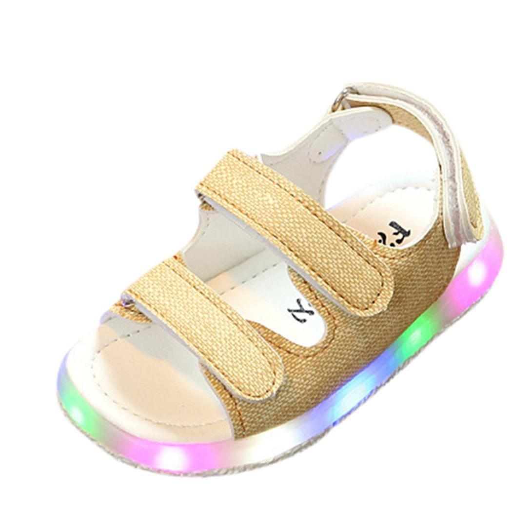 Honhui Toddler Boys Girls Sport Sandals LED Luminous Summer Sneakers Shoes (Yellow, 3-3.5T)