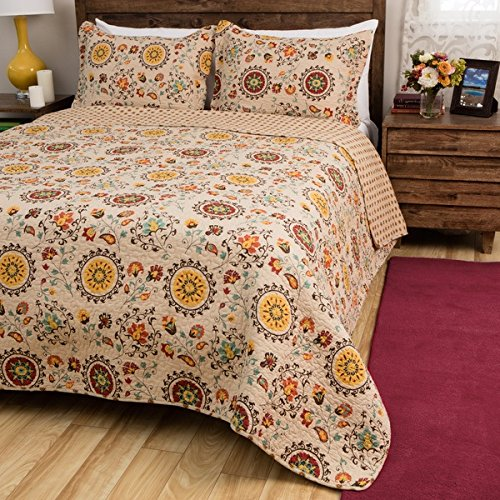 3 Piece Beige Yellow Red French Country Inspired Quilt King Set, Beautiful Vintage All Over Floral Bedding, Elegant Multi Geometric Medallion Flower Themed Reversible Polka Dot Pattern, Burgundy by D&H