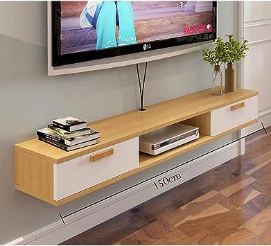 HJJ Los estantes flotantes Madera Flotante TV Gabinete, Unidad de Montaje en Pared de Entretenimiento, con 2 de Almacenamiento, for Cajas de Cable/routers/Controles remotos/Reproductores de DVD/Co: Amazon.es: Electrónica