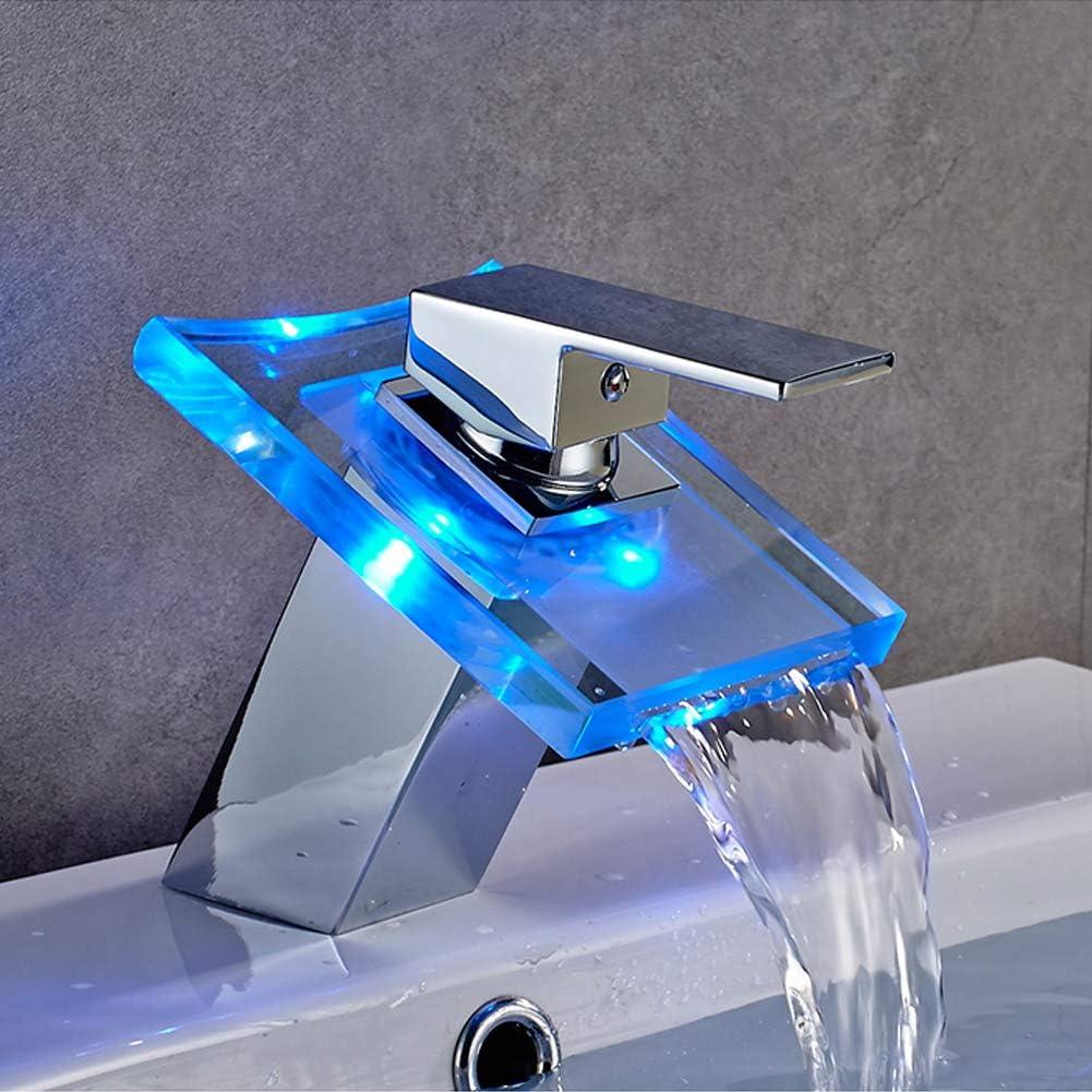 AuraLum Grifo Lavabo Cascada con Led de 3 Colores, Grifo Baño de Vidrio y Latón para Lavabo, Agua Fría y Caliente Disponible, Mezclador Monomando Lavabo con Sensor de Temperatura