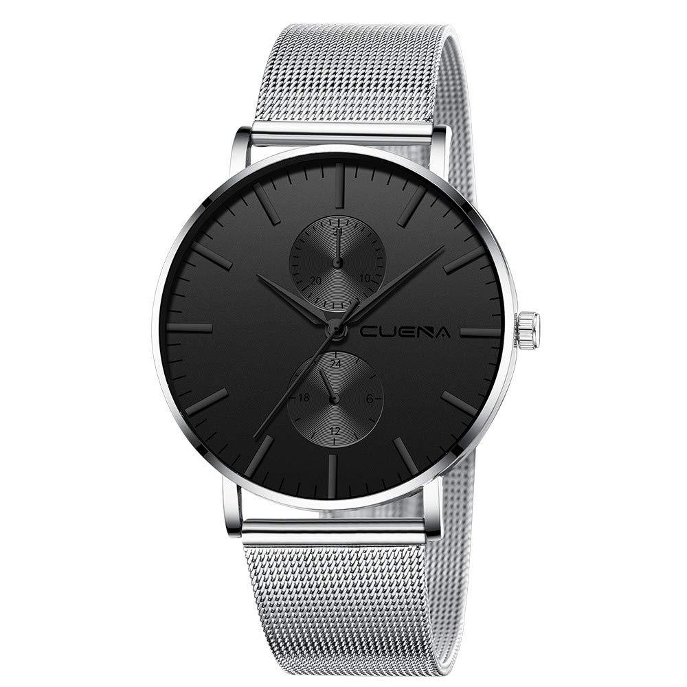 Minimalist Wrist Watches for Men, Unisex Analog Quartz Watch with Steel Mesh Strap 30m Waterproof by Bravetoshop(G)