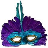 Grand Masque A Plumes Vénitien Colombine Masque Rio Violet Samba Plume Bijou de Cheveux Coiffe Brésilien Masque de Bal Carnaval Danseuse Loup Venise Bal Masqué Accessoire