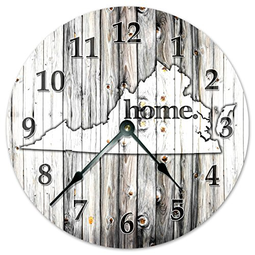 VIRGINIA STATE HOME CLOCK Black and White Rustic Clock - Large 10.5
