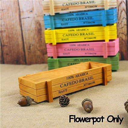 1 PC Jardinera Jardinera Comedero Decoración de jardín Cajas suculentas Maceta de Madera Vintage Cajas Rectángulo Florero: Amazon.es: Coche y moto